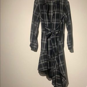 1.State Plaid Shirt Dress